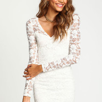 LACY PLUNGE BODYCON DRESS