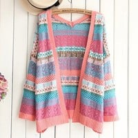 Woman's Stripes Pattern Cardigan 090321