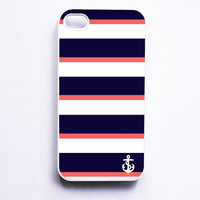 Nautical iPhone Case for Iphone 4 / 4S - Navy &amp; Coral Stripe With Anchor