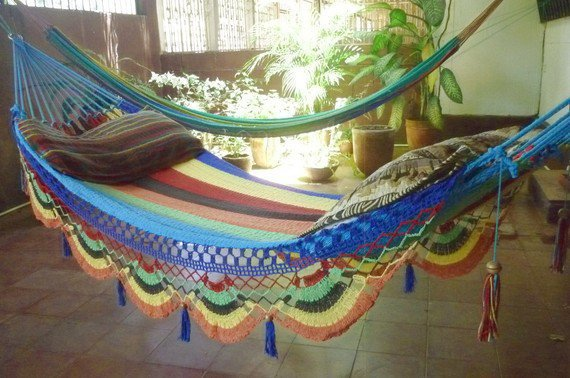 Multi Color Single Hammock hand-woven Natural Cotton Special Fringe