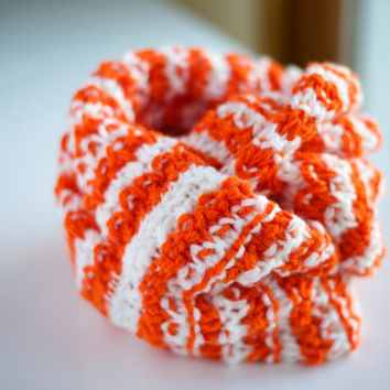 Fall Winter Orange and White Striped Knitted Wrap Around Infinity Scarf, Neckwarmer, Cowl