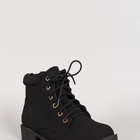 Lace Up Round Toe Ankle Bootie
