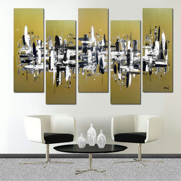 """Original abstract painting. 41×64"""" 5 piece canvas art. Large painting. Metallic gold…"""