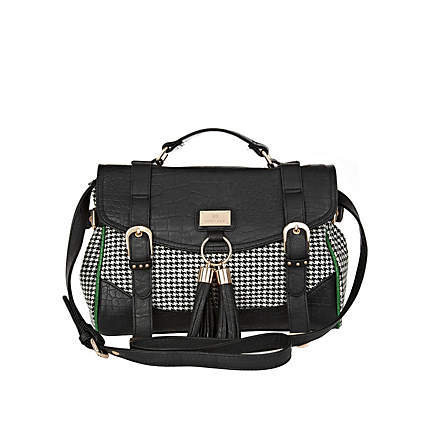 black dogtooth print tassel front satchel