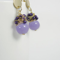 Pearlescent seed beads and glass beads wire wrapped earrings /delicate purple lilac stud earrings