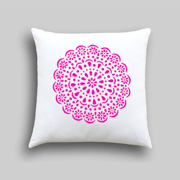 Neon Pink Doily Designer Cushion Cover, Neon Pillow cover. Vintage Doily in Gold Pillow Slip…