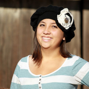 Upcycled Black Cashmere Hat With Shabby Chic Flower
