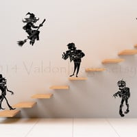 5 Halloween monsters on stairs vinyl wall decal, wall art