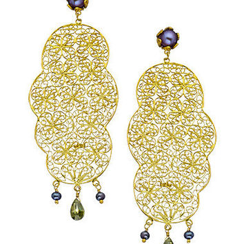 Yvone Christa Pearl Filigree Flat Earrings - Max & Chloe
