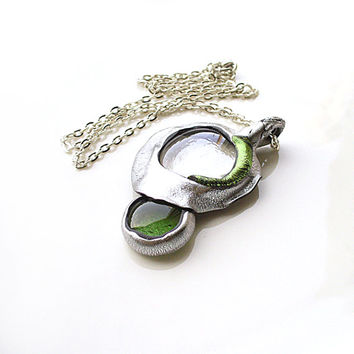 Transparent Glass Necklace, Silver Green Necklace, Statement Necklace, Green Silver Pendant