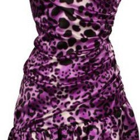 Leopard Print Satin Bubble Mini Dress Prom Formal Junior Plus Size