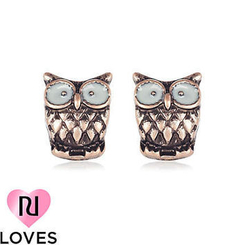 gold tone owl stud earrings