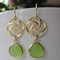 Gold Swirl Earrings with Apple Green Glass Pendants - Bridesmaid Gift - Summer