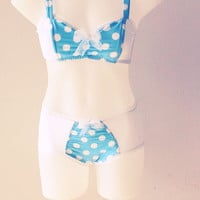 Dream Away! Soft cute Pita Pata Baby Doll lingerie sky blue white polka dots Bralette Bustier Bra cotton jersey sexy cute