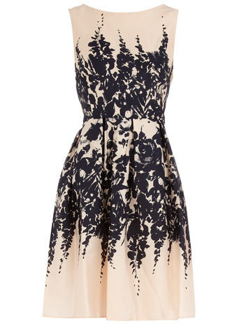 Nude floral border prom dress