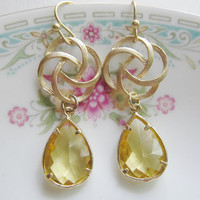 Swirl Earrings with Topaz Teardrop Glass Pendants - Bridesmaid Gift - Summer Fashion Jewelry
