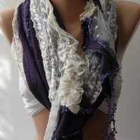 Purple - Elegance Shawl // Scarf with Lace Edge,,