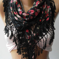 Elegance  Shawl / Scarf with Lacy Edge,,