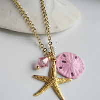 Gold Starfish Pink Sand Dollar Pink Crystal on Gold Chain Beach Wedding Bridesmaid Gift