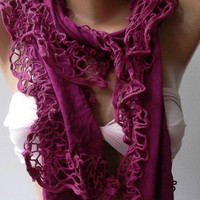 Fuchsia - Elegance Shawl / Scarf with Lace Edge..