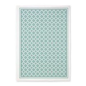 Mint And White Quatrefoil 5'x7'area Rug> AREA RUGS> Scarebaby Design