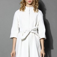 Little White Mid-sleeve Wool-blend Belted Coat White