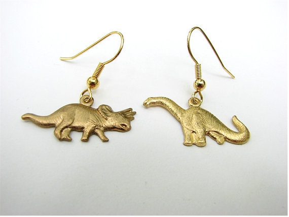 dinosaur earrings - triceratops vs.brontosaurus jewelry - long OR short