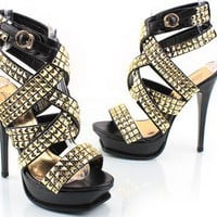 Spring Summer Studded Strappy Open toe Pumps Heels by dithzzappear on Sense of Fashion