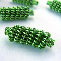 Coiled wire beads green by MelsBellsJewelry on Zibbet