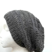 Dark Gray wool Beanie Beret open weave large size slouch hat  4473