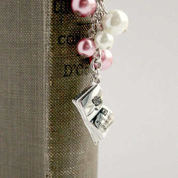 """Pink & White Pearl """"Once Upon a Time"""" Beaded Bookmark - Fairy Tale Bookmark - Ready to Ship"""