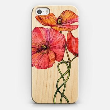 Peach and Pink Poppy Tangle on Wood iPhone 5s case by Micklyn Le Feuvre | Casetify