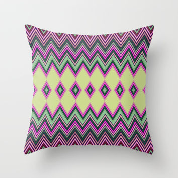 Uzochi Zigzags Throw Pillow by Webgrrl