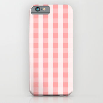 Coral Pink Checker Cross Square iPhone & iPod Case by BeautifulHomes