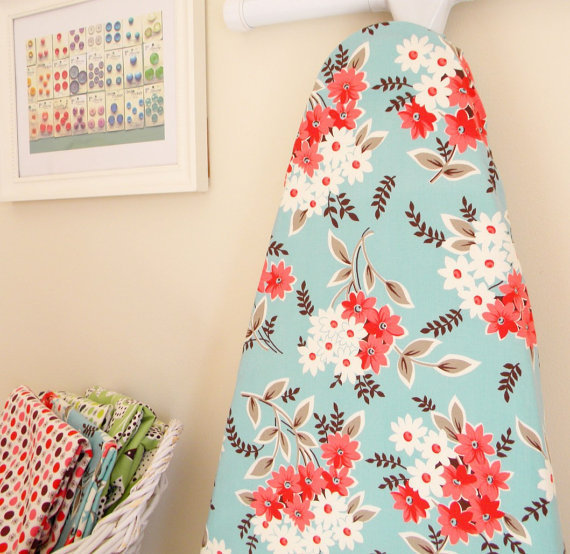 Ironing Board Cover - Flea Market Fancy - Bouquet in Aqua