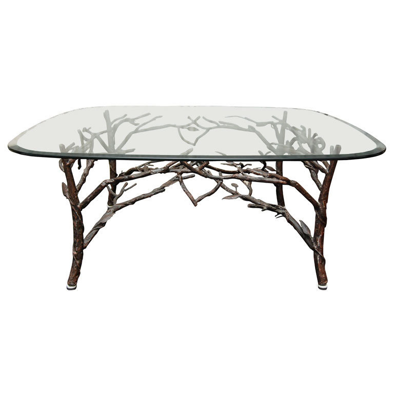 1STDIBS.COM - foley&amp;cox home - Glass Top Coffee Table with tree leg base