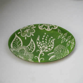Serving Platter Green Floral Lace-Made to Order
