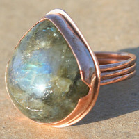Laboradite and Copper Triple Band Ring