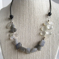 Labradorite Moonstone Necklace Briolette Leather Choker