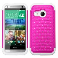 MYBAT Lattice Full-Star Case for HTC One Remix - Hot Pink/White