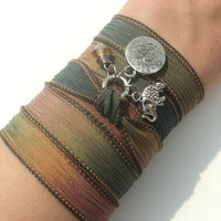 Tree of Life Silk Wrap Bracelet Sacred Elephant Yoga Jewelry Bohemian Anklet Necklace Earthy Unique Gift Under 50 Item C38