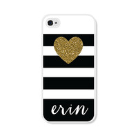 Personalized  iPhone Case Black and Gold iPhone Case Striped - Personalized iPhone 5 Case Personalized iPhone 5c Case Monogrammed Gift