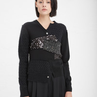 Totokaelo - Junya Watanabe Black Two Button Sequin Sweater - $1,345.00