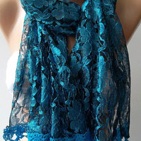 White  -Blue - Elegance  Shawl / Scarf with Lacy Edge.