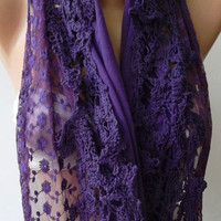 Purple -- Elegance Shawl / Scarf with Lace Edge..