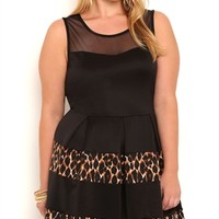 Plus Size Skater Dress with Cheetah Skirt and Illusion Neckline