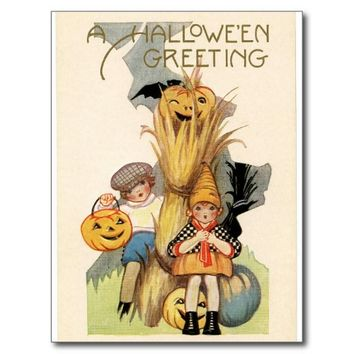 Halloween Kids Trick or Treat Postcard
