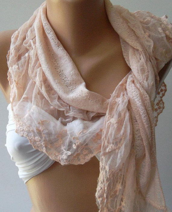 Salmon Pink - Elegance  Shawl / Scarf with Lacy Edge.....