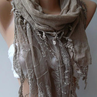 Stone Color -- Elegance Shawl / Scarf with Lace Edge......