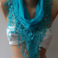 Blue - Cotton Shawl / Elegance Shawl / Scarf with Lace Edge...